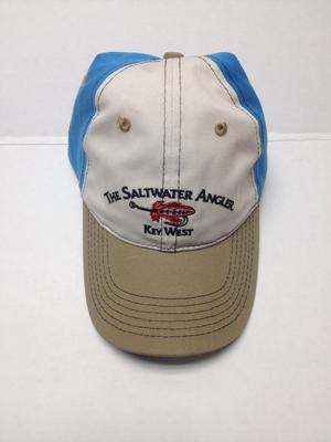 Saltwater Angler Off White Cap with Turquoise side & Khaki Brim