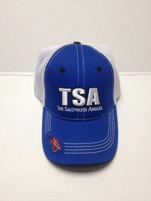 Saltwater Angler Blue Cap with Mesh and Red Fly on Brim