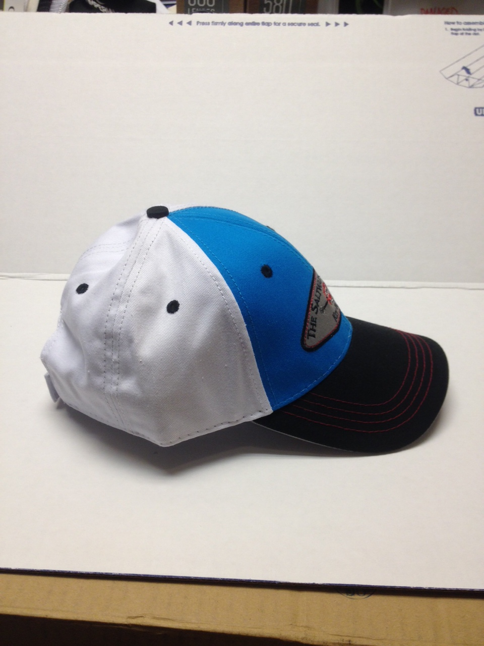 Saltwater Angler Turquoise and White Hat with Black Brim