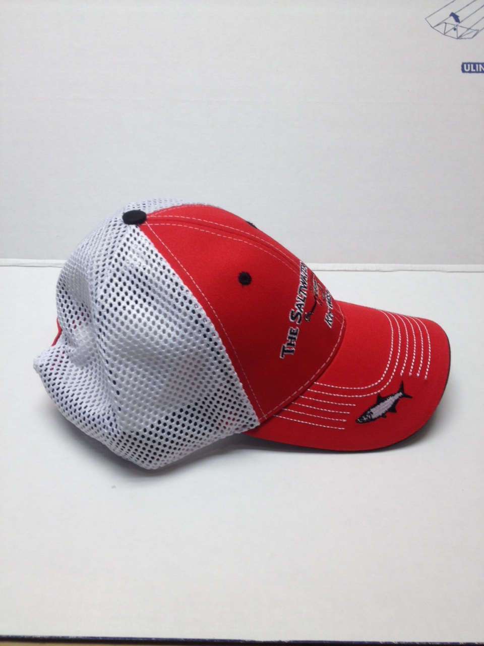 Saltwater Angler Cap Red with Fish on the Brim